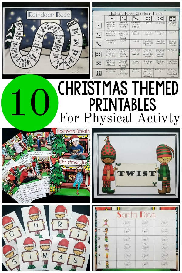 Christmas themed printables. Ten different Christmas themed printables that promote physical activity. The printables are great for brain breaks, kinesthetic learning, gross motor stations and more! Use for preschool gross motor, therapy sessions, or at home!