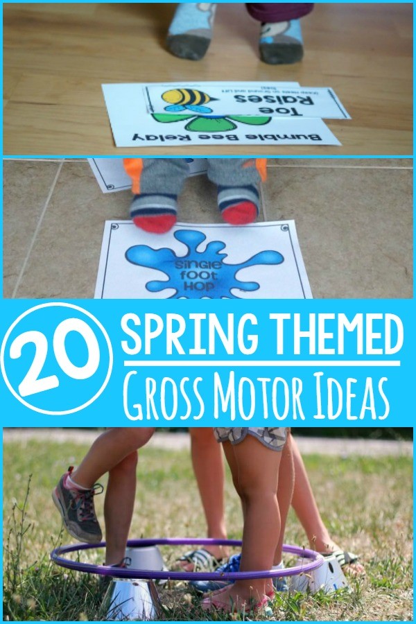 Spring themed gross motor ideas. Over 20 different ideas for incorporating movement into a Spring theme.