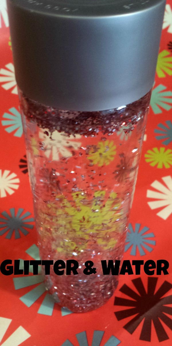 glitter and water sensory bottle