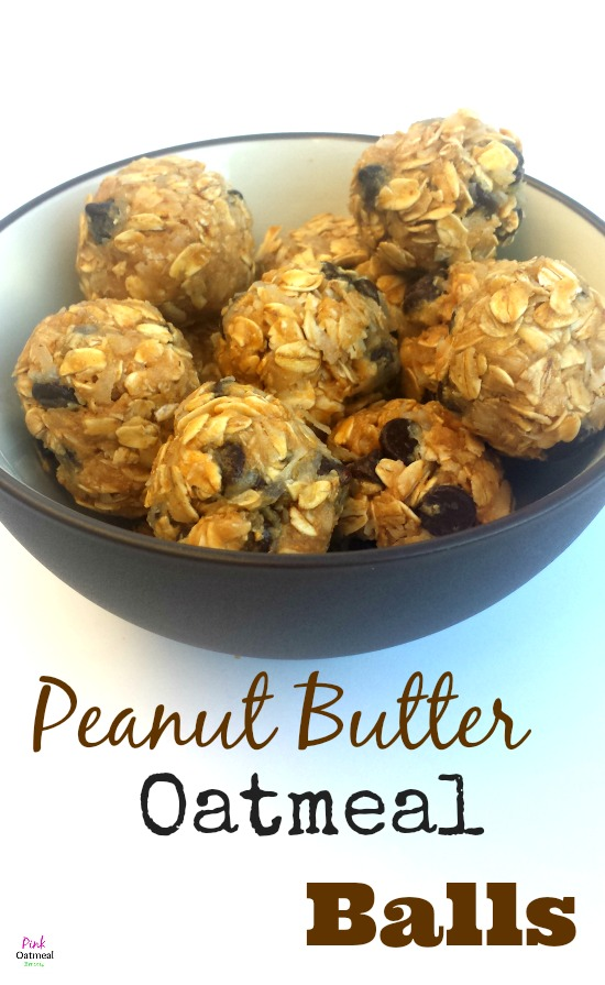 Peanut Butter Oatmeal Balls.  These are the best energy bites!  Simple to make and I love knowing what's in my food! - Pink Oatmeal