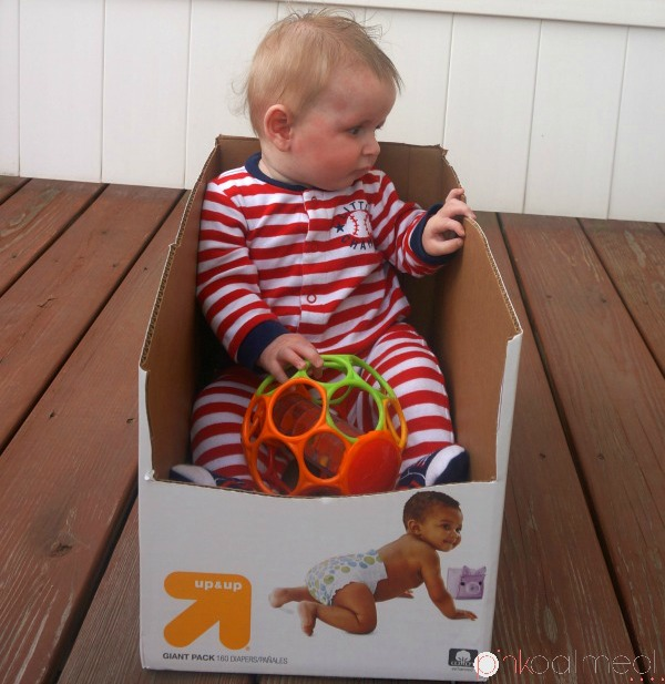 Using a diaper box for your wobbly sitter for short periods of time!