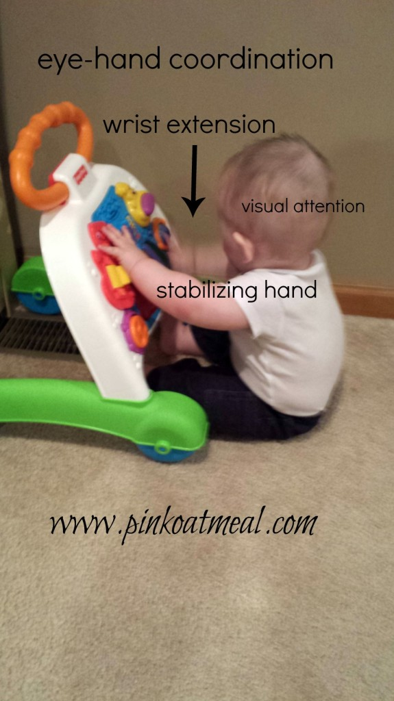Benefits Of The Push Toy for your baby boy or girl. A pediatric physical therapist discusses why this is a great toy for development. Sometimes called a walker as well! -