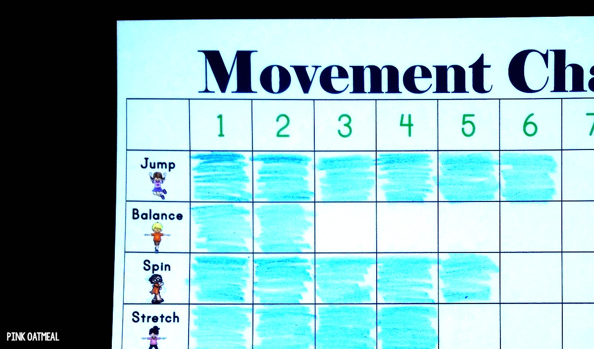Fun movement ideas with a movement chart! I love how this can be used for tracking and incorporated into school math, centers, or brain breaks!