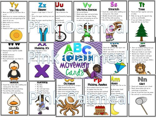 Classroom Review Ideas ~ Alphabet movement cards pink oatmeal