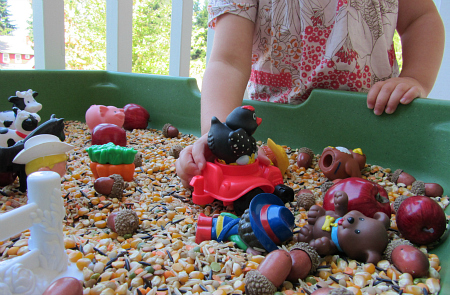 Farm Themed Sensory and Motor Play - Pink Oatmeal