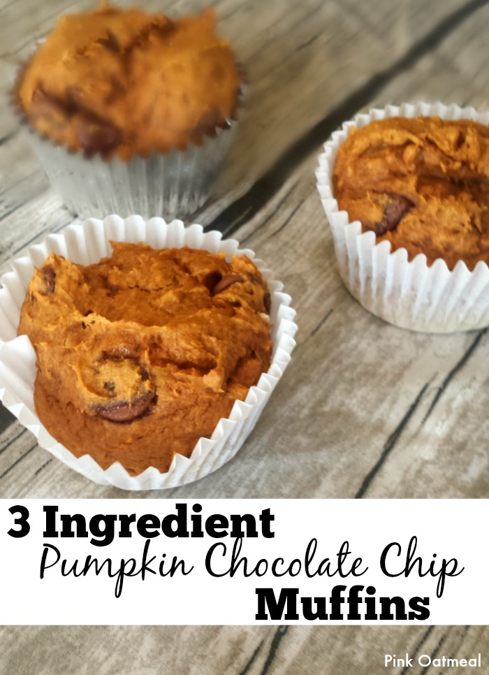 Pumpkin Chocolate Chip Muffins - 3 Ingredients - Pink Oatmeal