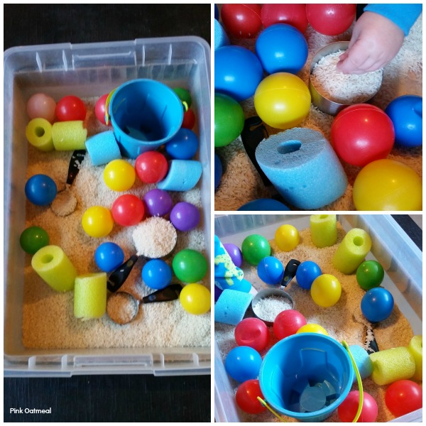 Simple Sensory Bin Play - Pink Oatmeal