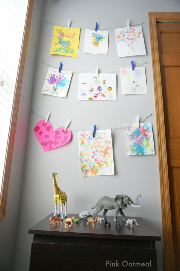 Child's Art Wall Spacing - Pink Oatmeal
