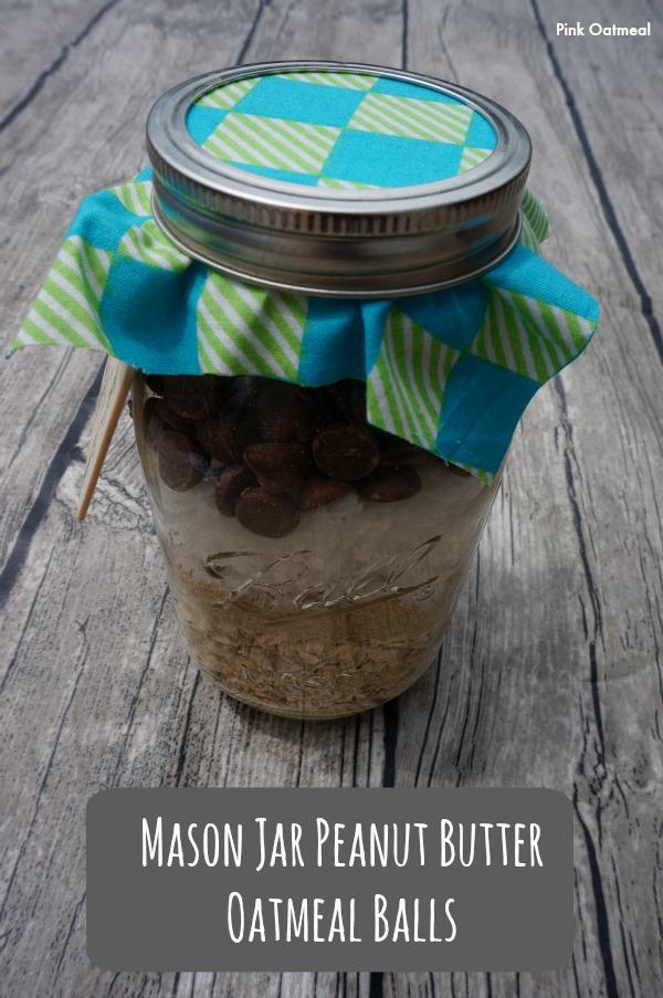 Mason Jar Peanut Butter Oatmeal Balls - Pink Oatmeal