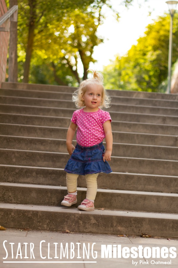 Stair Climbing Milestones - Pink Oatmeal