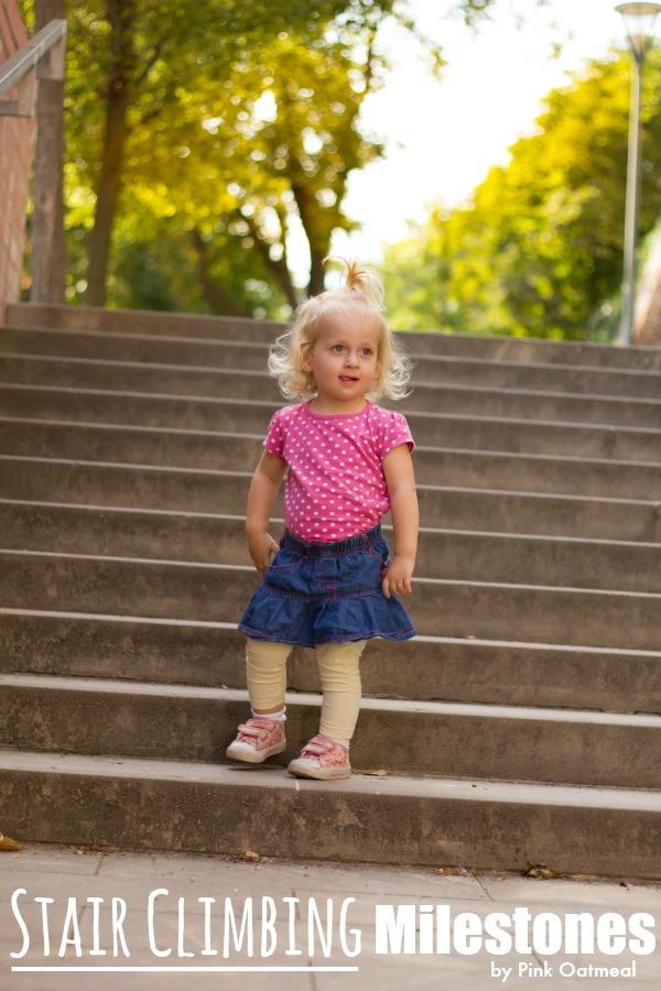 Stair Climbing Milestones - Pink Oatmeal