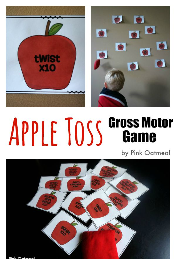 Apple Toss Gross Motor Game - Pink Oatmeal