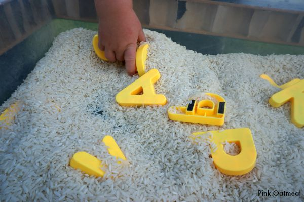 Toddler Letter Recognition Sensory Bin - Pink Oatmeal