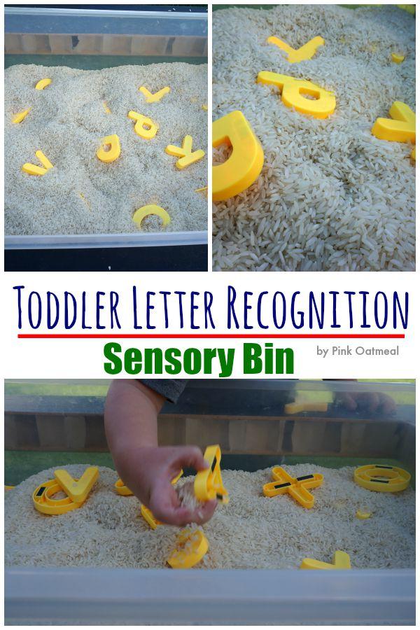Toddler Sensory Bin Letter Recognition - Pink Oatmeal
