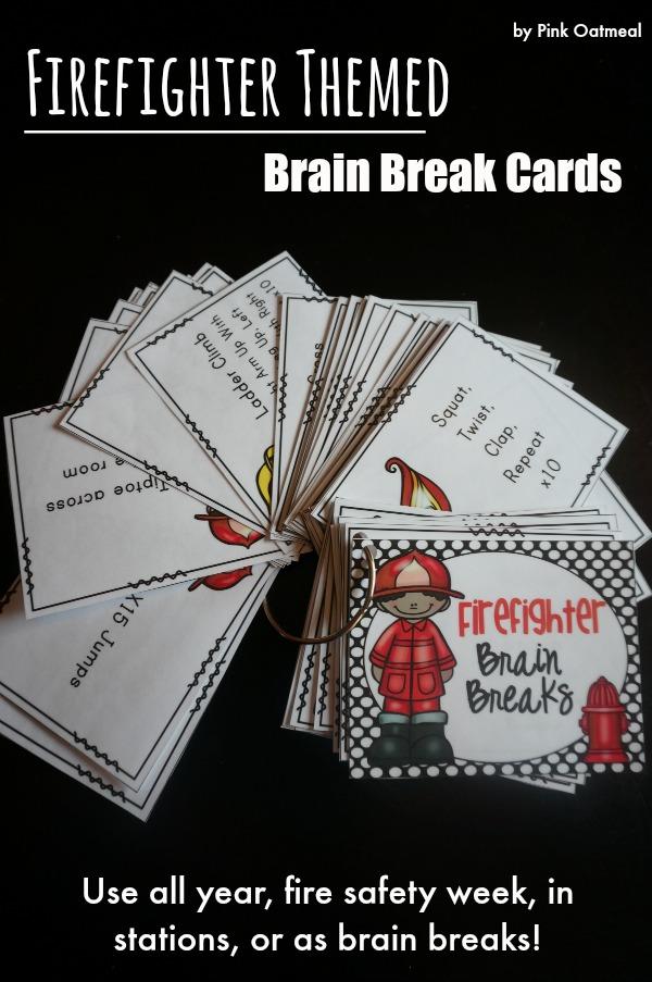 48 Firefighter Brain Break Ideas.  Make brain breaks fun with a firefigher theme!  I love these ideas! - Pink Oatmeal