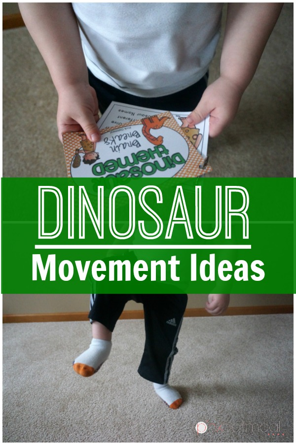 Classroom Unit Ideas ~ Dinosaur gross motor and brain break ideas pink oatmeal