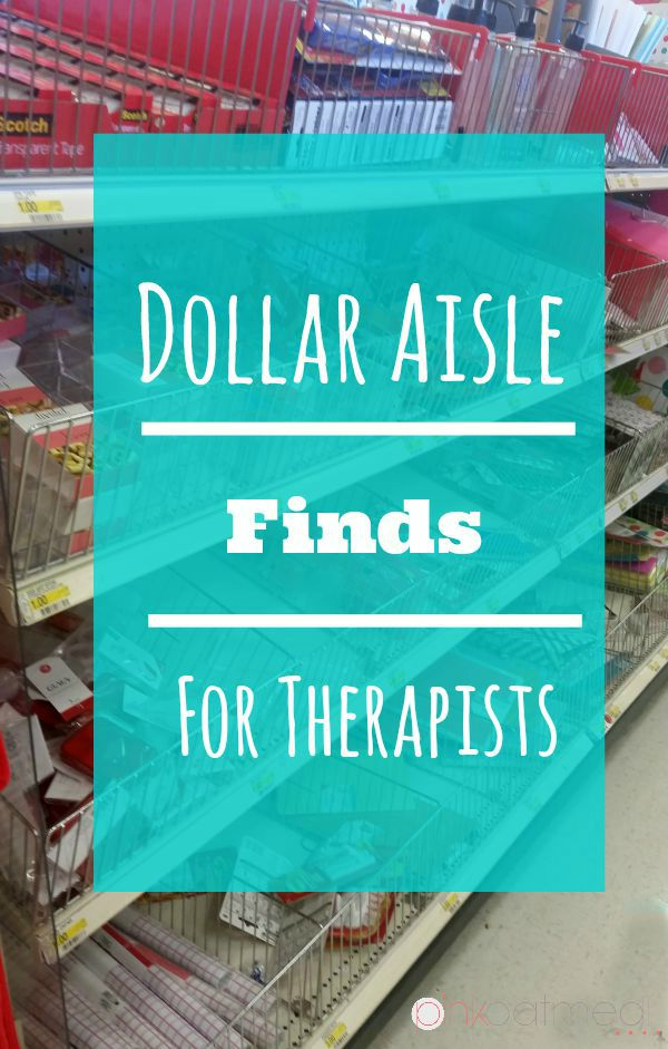 Dollar Aisle Finds For Therapists. Great ideas for physical therapists, occupational therapists, or even speech therapists. I never would have thought of number 3!