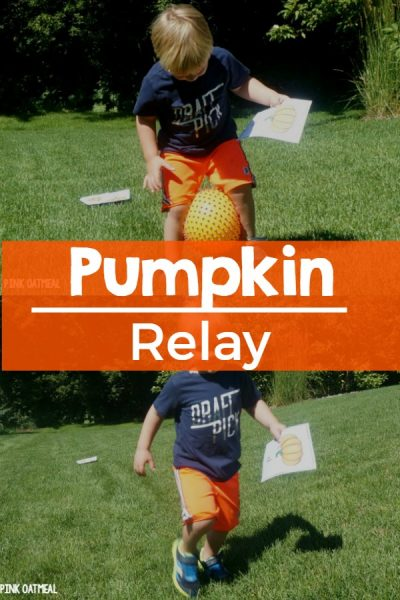Halloween Themed Gross Motor Game - Pumpkin relay. Could also be used as a fall themed gross motor game.