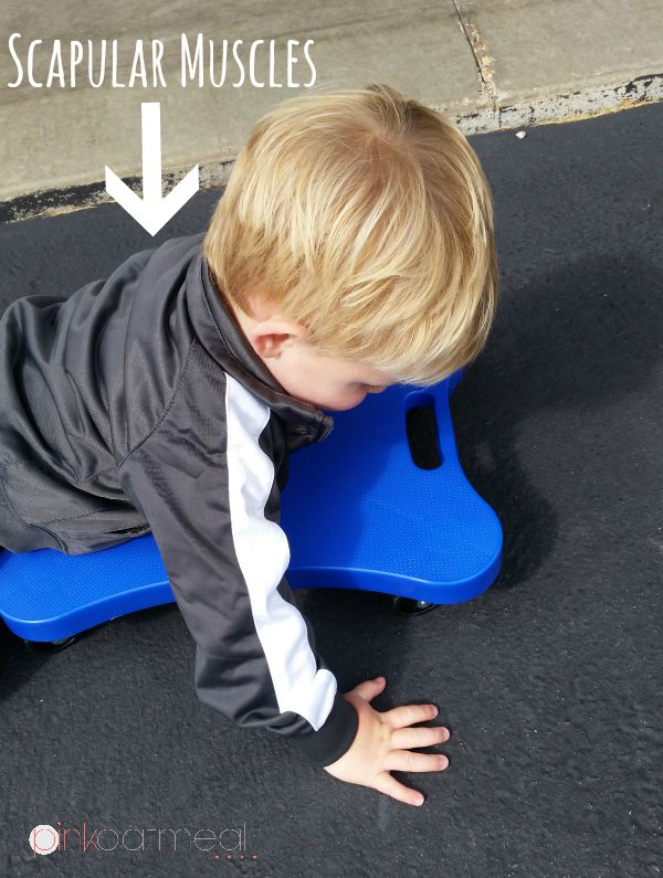 Activities that work on gross motor and fine motor skills - Scooter Boards and Obstacle Courses