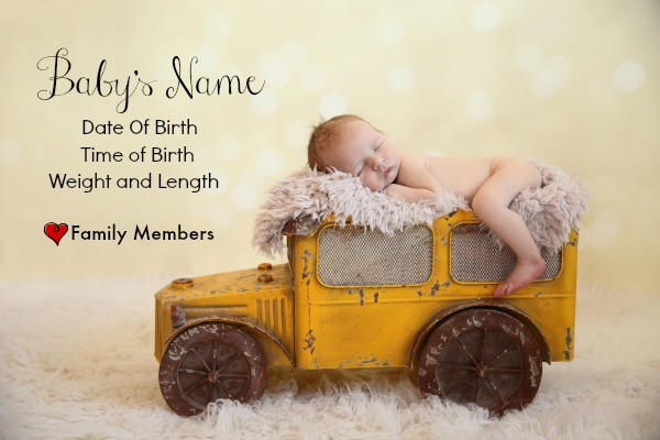 DIY Baby Announcement With Information - Pink Oatmeal
