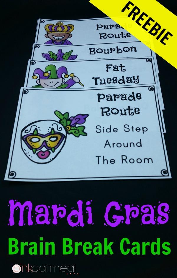 Mardi Gras Brain Break Cards - So fun for the month of February!