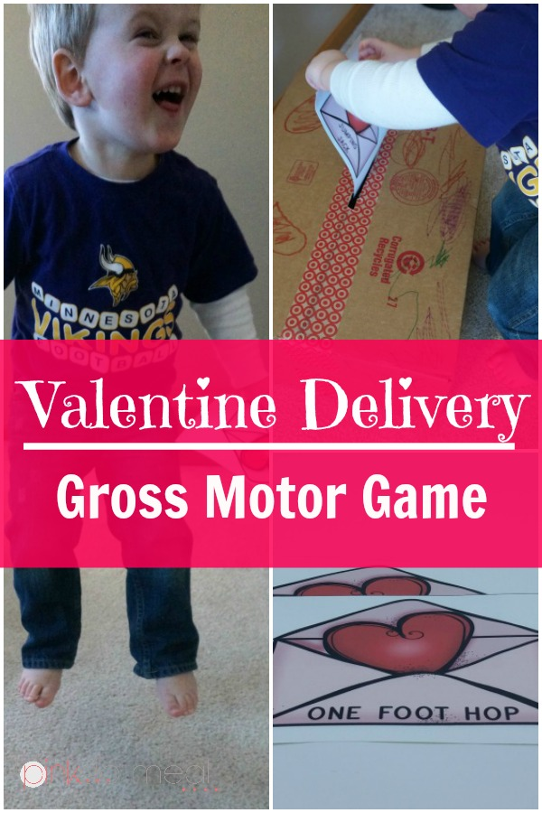 Valentine's Day Game for gross motor. A great Valentine's Day idea for the kids! Valentine Delivery Game will be sure to engage the kids in movement!- Pink Oatmeal