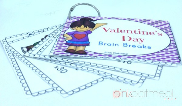 Valentine's Day Brain break Cards, Perfect for Valentine's Day parties, brain breaks for the month of February, or even to use for transitions or at morning meeting- Pink Oatmeal