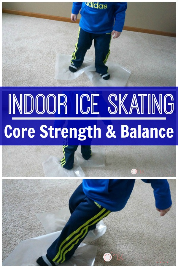 Indoor Ice Skating -Ice skating is a great balance and kids core exercise. It's a great kids activity for the indoors. A fun winter themed activity for kids!