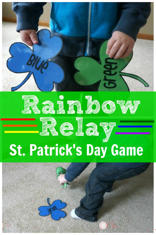 Rainbow Relay St. Patrick's Day Gross Motor Game - Pink Oatmeal