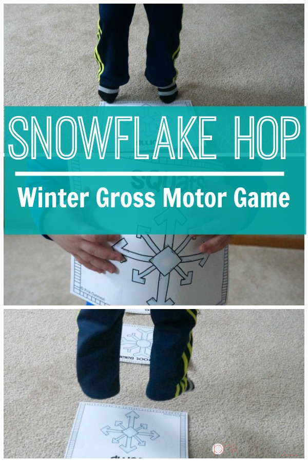 Snowflake Hop for winter gross motor play. A fun large motor game for kids. Great winter game for preschool on up!