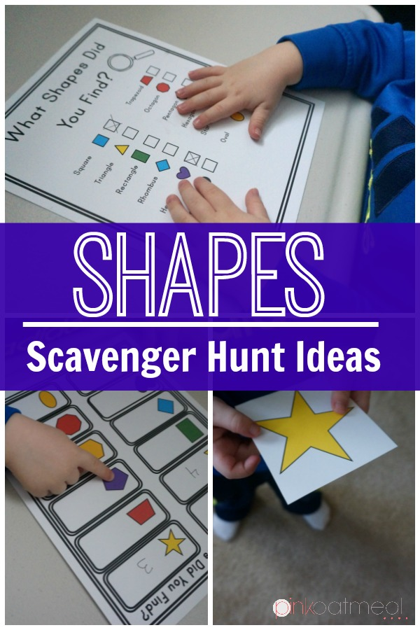 Shape recognition gross motor game. I love the scavenger hunt idea for identifying shapes. Great in an educational setting, therapy, or at home!
