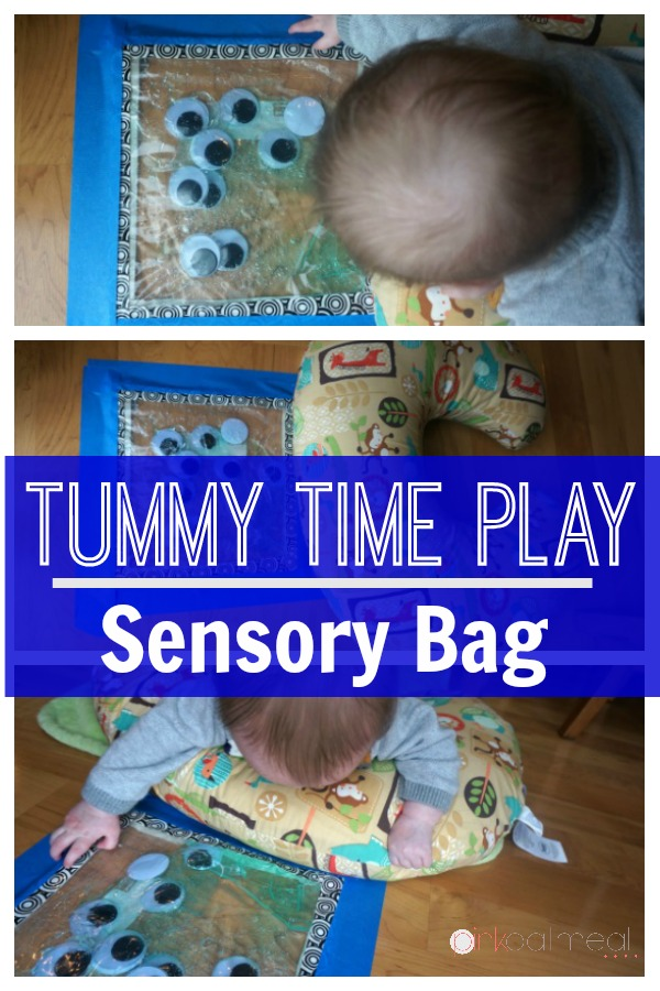 Tummy time sensory bag play! Such a fun baby play idea!