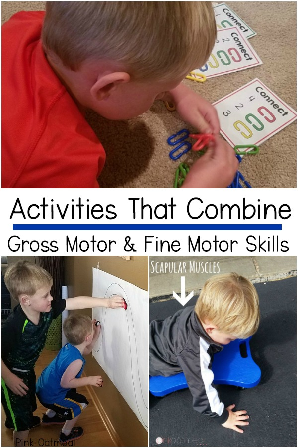 Activity Ideas that combine gross motor and fine motor skills. Everyday activities that can work on these two skills at the same time.
