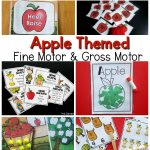 Apple themed fine motor and gross motor planning ideas. Fun activities that incorporate an apple theme into fine motor skills and gross motor skills. These are great for preschool fine motor, preschool gross motor, kindergarten, and therapies. Use these at home!