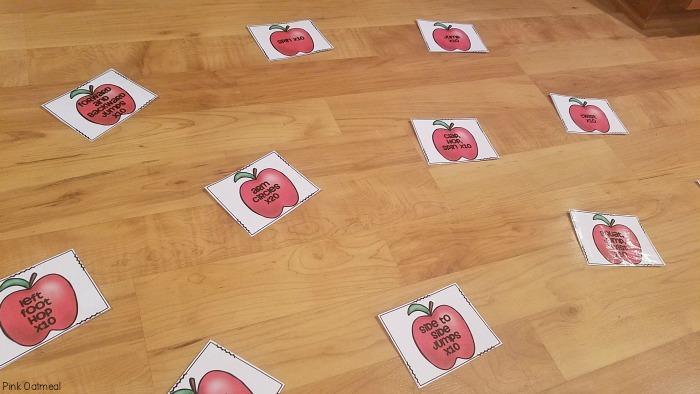 Apple toss fall gross motor game.