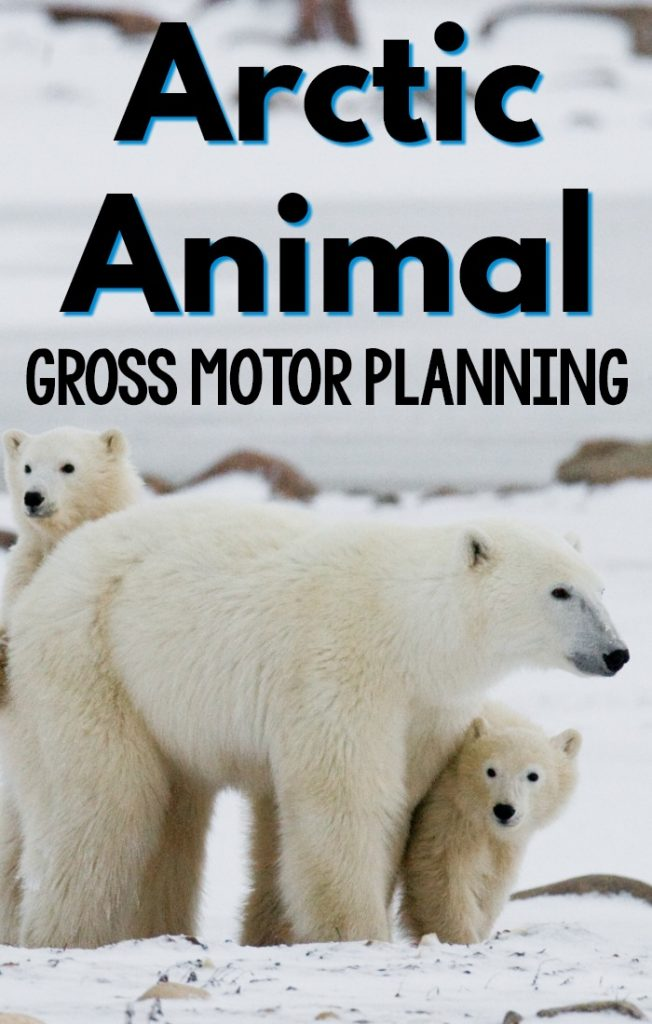 Arctic Animal activities that promote gross motor! Fun arctic animal gross motor games and activities perfect for an arctic animal unit, week, or to use in the winter! #preschool #grossmotor
