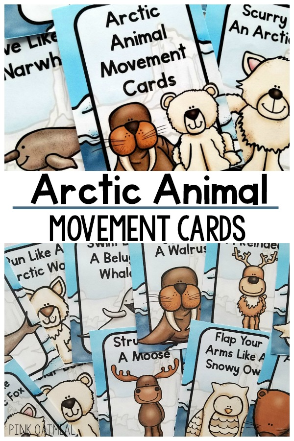 Arctic animal brain breaks. A great arctic gross motor activity. The perfect way to move with your arctic theme. Great for a classroom, therapy, or home. Make your arctic unit fun by adding movement like the arctic animals.