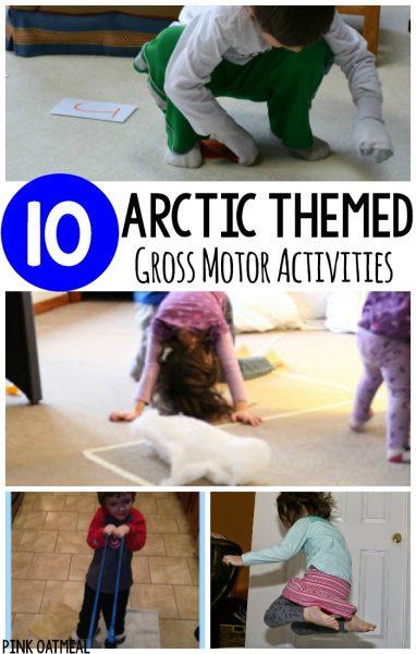 Arctic themed gross motor activities pink oatmeal for Winter themed gross motor activities