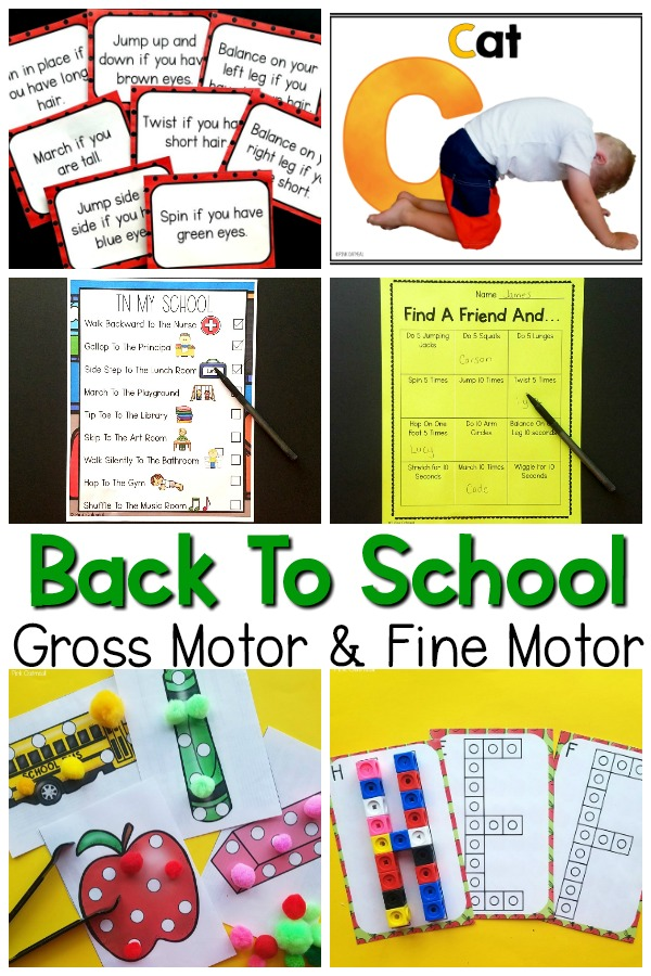 Back to school gross motor and fine motor activities.
