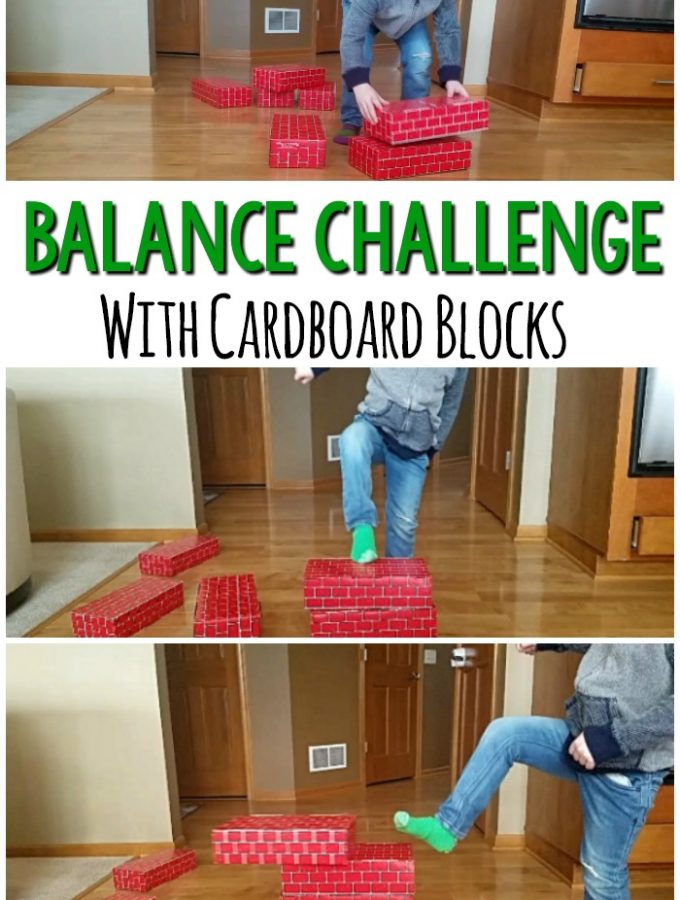 Balance activity that is so much fun! Use cardboard blocks to play these balance games that any kid or adult will love. This gross motor game can easily be adapted to increase or decrease the challenge! #balance #grossmotor
