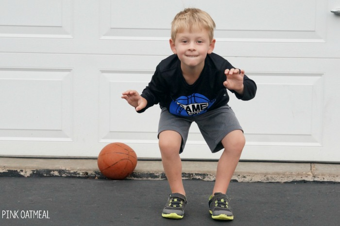 Basketball themed activities! These gross motor and brain break ideas are so fun for the basketball lover, NCAA time, NBA playoffs, cheering on your favorite team and more! Use them as a brain break in the classroom, for preschool gross motor activities, OT, PT, SLP, and at home!