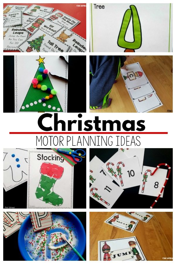 Christmas motor planning ideas. Fine motor and gross motor activities with a Christmas theme are perfect for the month of December. Use these Christmas activity ideas for the classroom, home or therapy (OT, PT, or SLP). A great option for the entire month of December.