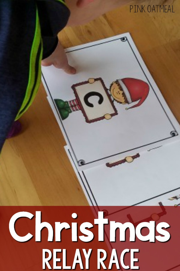 Preschool Christmas Gross Motor - Christmas Relay Race.  A fun gross motor game for preschool and up.  Race to pick up cards that spell out Christmas.  A fun activity for a party, therapy, physical education, or a Christmas party.