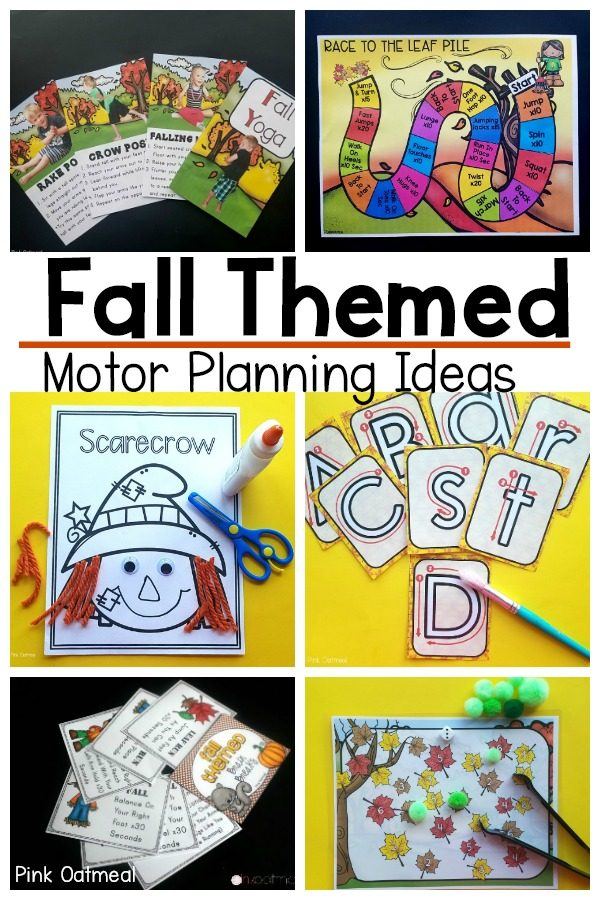 Fall themed motor planning ideas. Gross motor and fine motor activities with a fall theme. These activities are perfect for home, the classroom, and occupational or physical therapy. A fun way to incorporate appropriate motor planning and gross motor for kids!