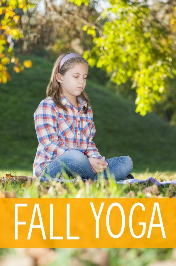 Kids yoga pose ideas with a fall/autumn theme! I love the falling leaves pose!