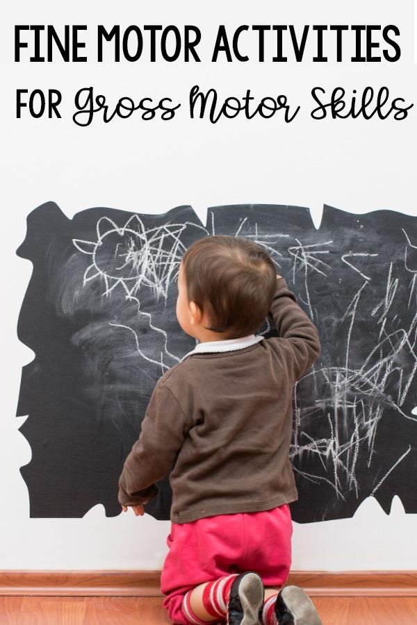 Using fine motor skills to work on gross motor skills. Tips and ideas for using fine motor activities as part of gross motor skills.