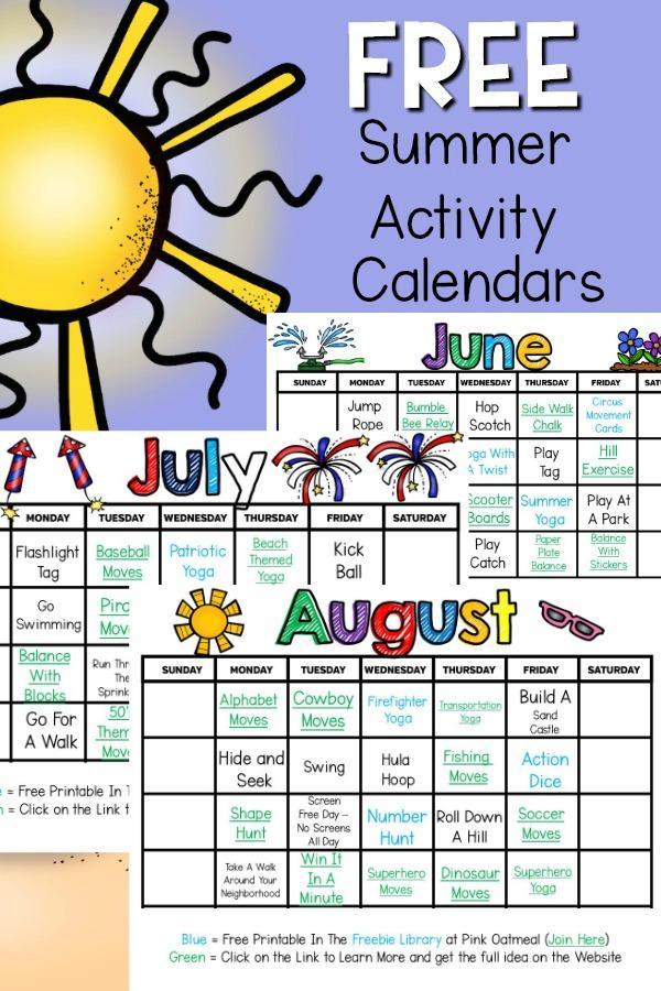 Summer Gross Motor Planning - Free summer calendars
