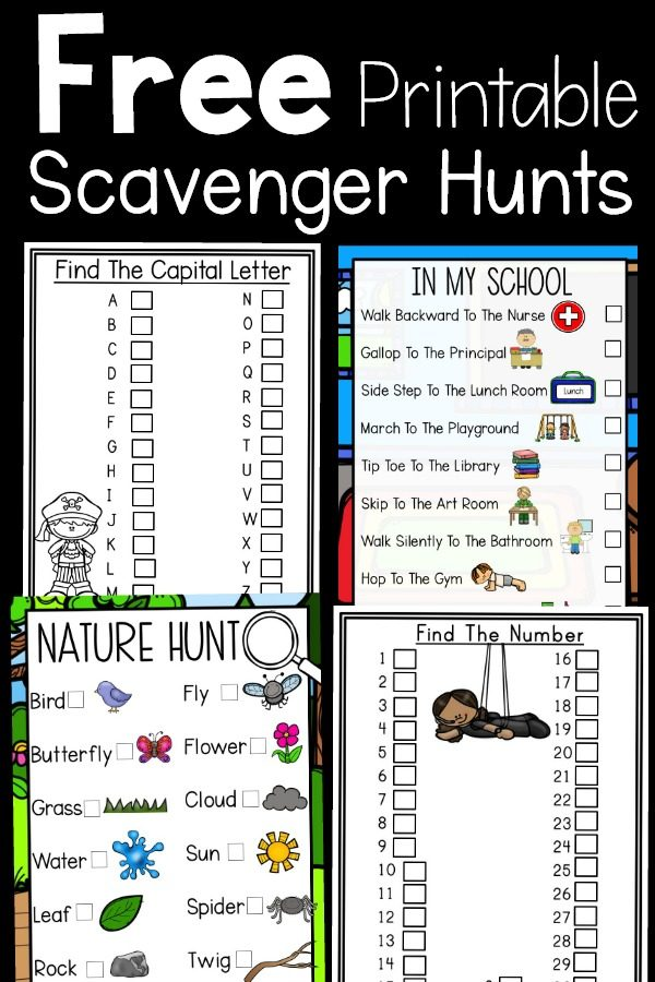 Free printable scavenger hunts. These printables are a great way to get kids moving and learning at the same time. Alphabet, Number, Nature, and School Scavenger Hunts!