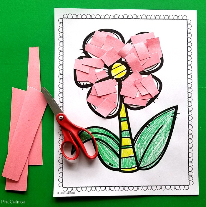 Garden themed fine motor - scissor skills with a flower