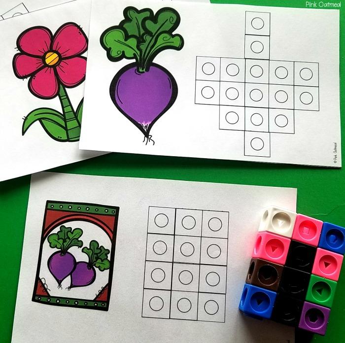 Garden themed fine motor - Snap Cubes